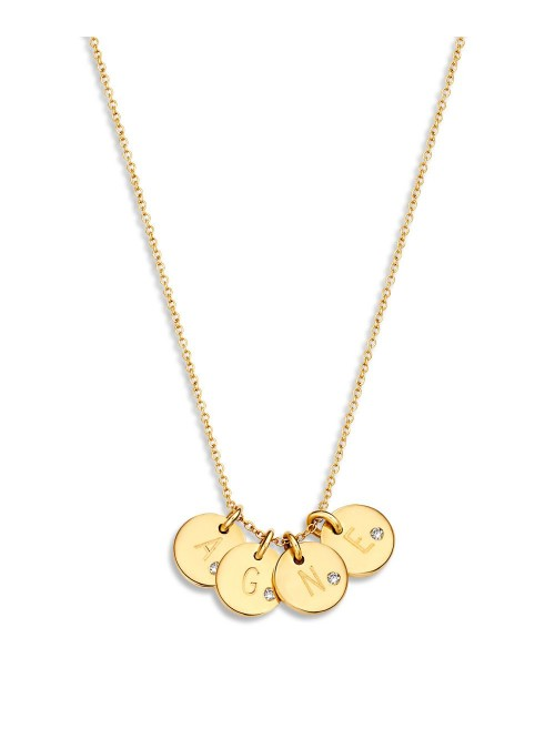 Just Franky Coin Necklace 4 Diamond Coins