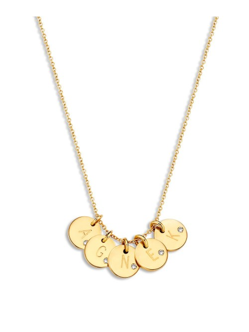 Just Franky Coin Necklace 5 Diamond Coins
