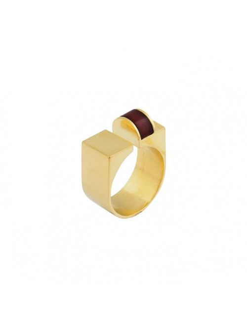 Studio Collect Open U-Shaped Red Agate Ring KR9GP