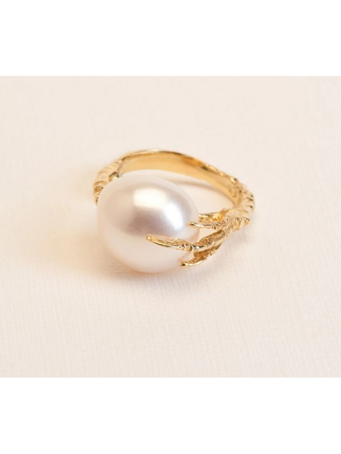 Wouters & Hendrix 18kt Gold statement crow's foot Ring with Freshwater Pearl RGC029